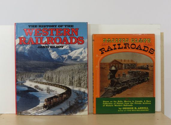 2 Vintage Railroad Books Pacific Slope and by 13thStreetEmporium, $20.00