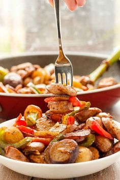 Creamer Potatoes with Sausage and Peppers   http://thecookiewriter.com   @thecookiewriter   #breakfast