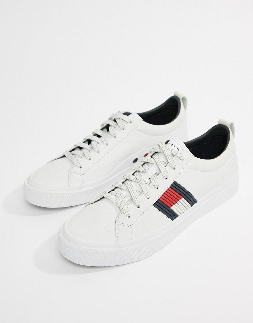 221a3720b TOMMY HILFIGER FLAG DETAIL LEATHER SNEAKER IN WHITE - WHITE.  tommyhilfiger   shoes