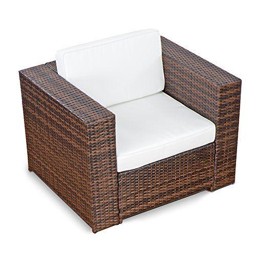 1er) Polyrattan Lounge Möbel Sessel braun - Gartenmöbel (1er ...