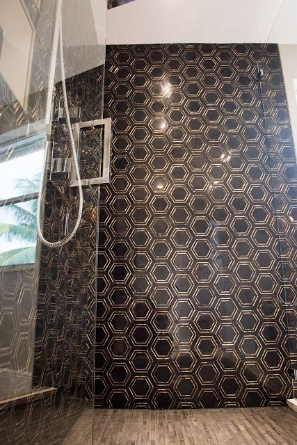Black Gold Hexagon Tile Master Bathroom Gold Marble