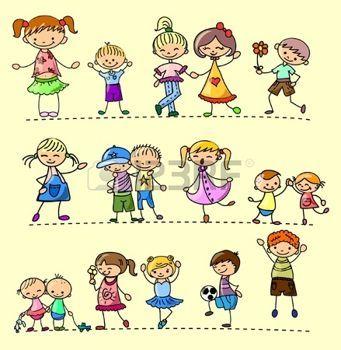 bambini stilizzati imposta bambini felici vettoriali