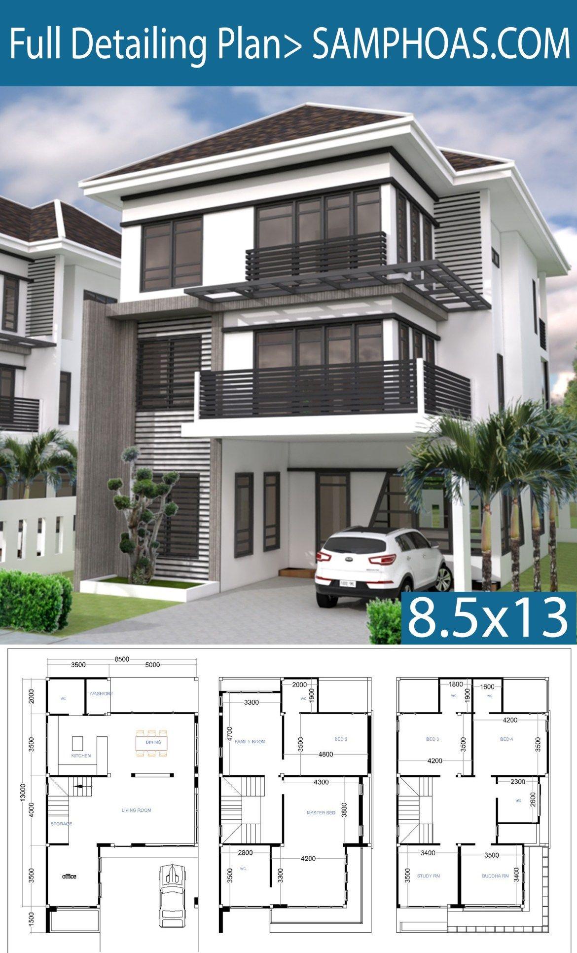 6 Bedrooms House Plan 8 5x13m Samphoas Plansearch 6 Bedroom House Plans Model House Plan Modern House Plans