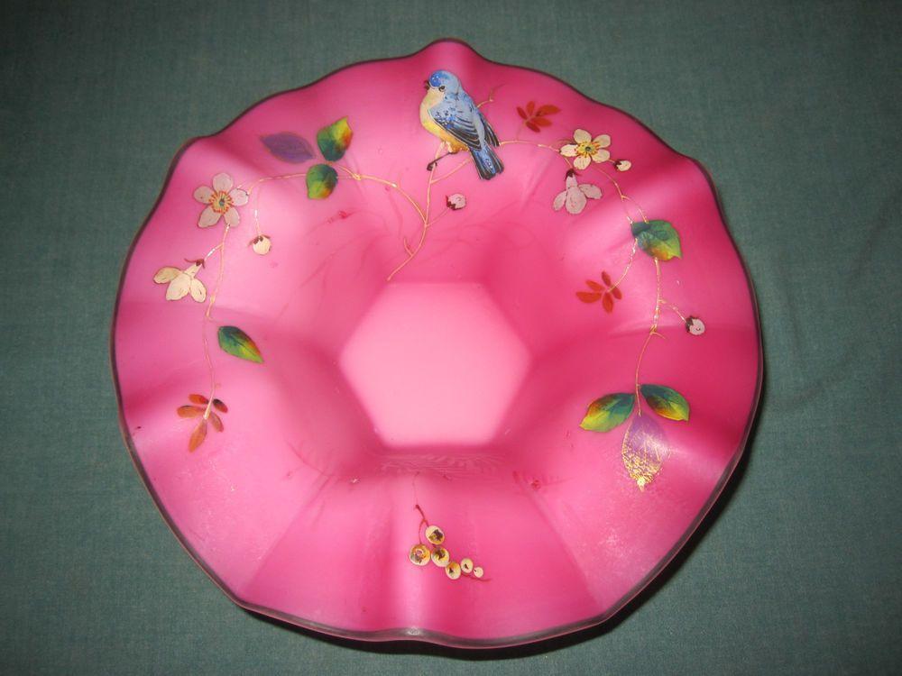 VICTORIAN PINK SATIN GLASS BRIDES BOWL or BASKET - SUPERB ENAMEL BIRD & FLORAL