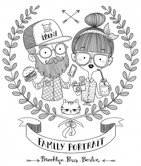 Happy Doodle Families Bundle Vector Disegni Bambini Tatuaggio