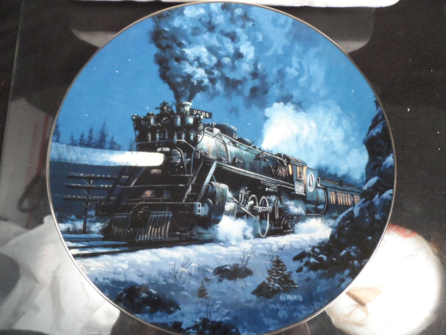 Collector Plate-Ceramic Collectible Plate with a Train- Knowles 1954  The Empire Builder  First Edition Decorative Plate & Collector Plate-Ceramic Collectible Plate with a Train- Knowles 1954 ...