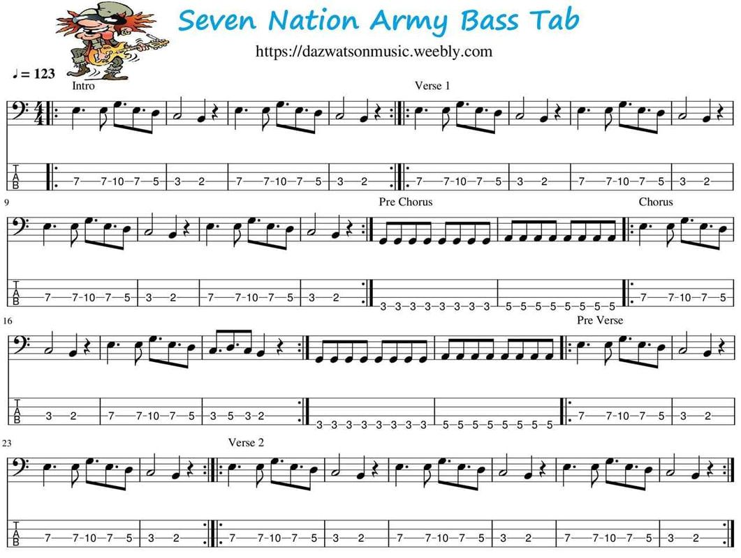 Seven Nation Army Bass Guitar Tab Bass Guitar Tabs Bass Tabs Guitar Tabs