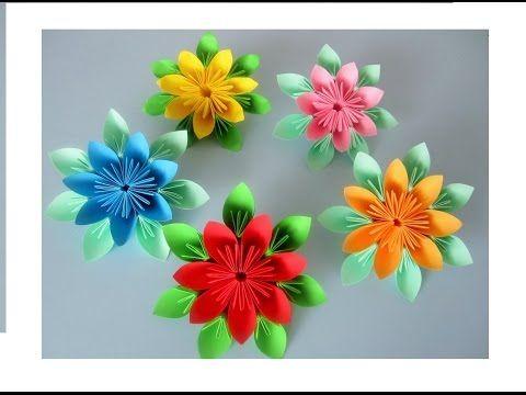 Blumen aus Papier / Notizzettel selber falten - YouTube   You tube ...