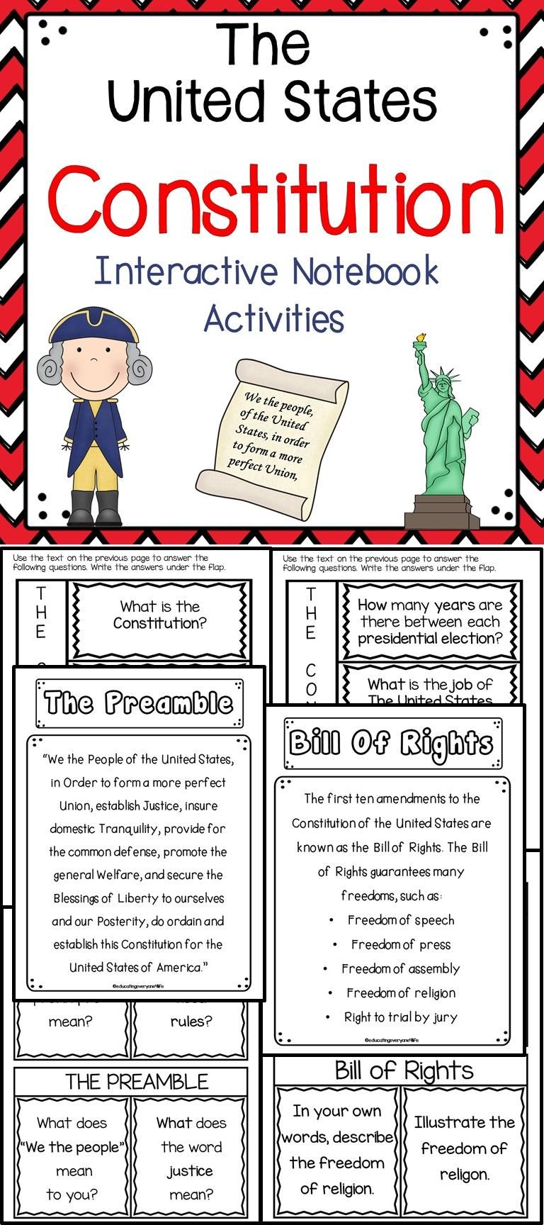 The United States Constitution This Is An Engaging Supplemental Activity To Use When Teach Interactive Notebook Activities Constitution Activities Activities