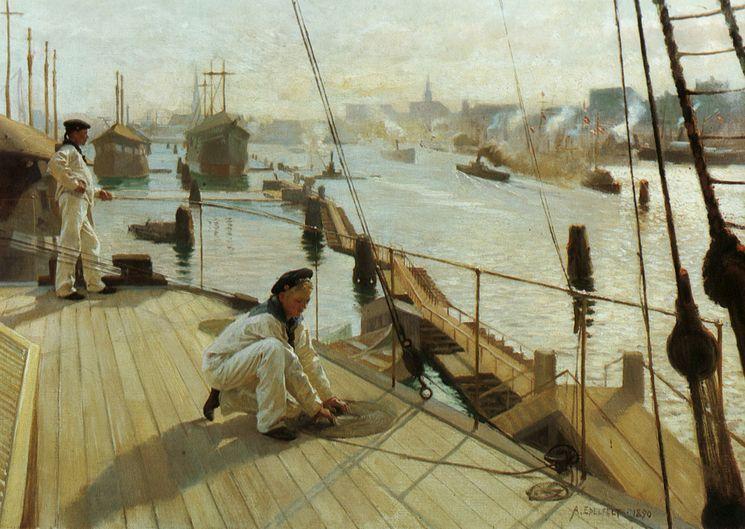 Kööpenhaminan Ankkuripaikalta II [Copenhagen anchorage II], Albert Edelfelt (Finnish, 1854-1905), 1890. Oil on canvas, 41.5 x 58.5 cm.