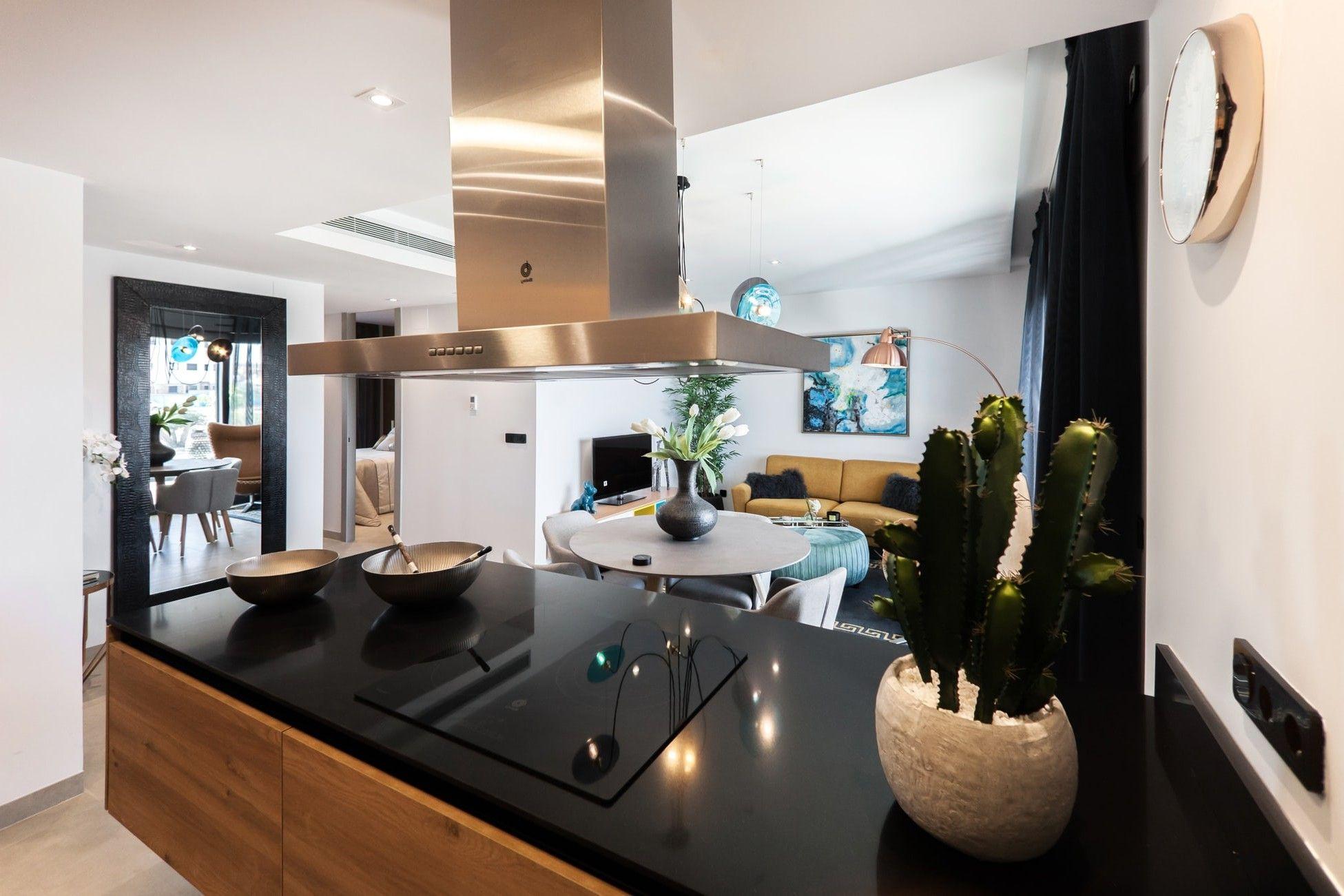 Moderne Kocharbeitsplatte Mit Flachem Schwarzem Elektroherd
