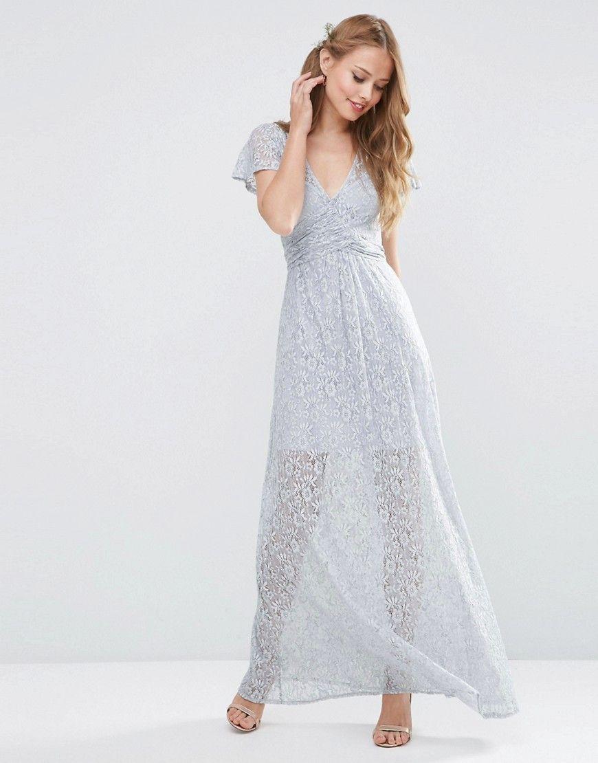 Blue grey wedding dress  ASOS WEDDING Lace Wrap Tie Maxi Dress  Gray  Products  Pinterest