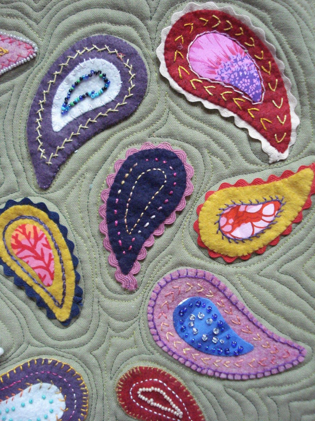 Wool felt \'paisley\' quilt with embroidery and beading by Louisa ...