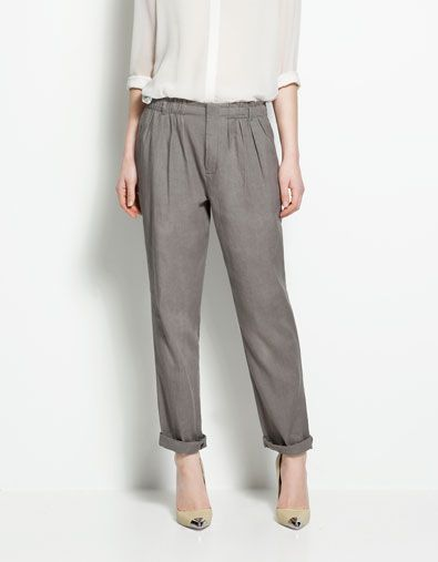 638b33326 Love this men's wear look. Zara - TROUSERS WITH ELASTICATED WAIST $59.99