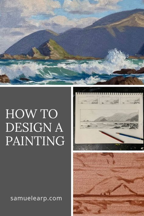 In this art tutorial I will show you an example of my painting process from sketching a composition design in my sketchbook to painting a color study prior to a final painting. I regard painting design as an essential part of the painting process, but also an enjoyable part. This painting tutorial includes a step by step guide to painting a seascape and is suitable for beginners as well as experienced painters. #art #sketch #drawing #design #seascapeart #painting #oilpainting #howtopaint