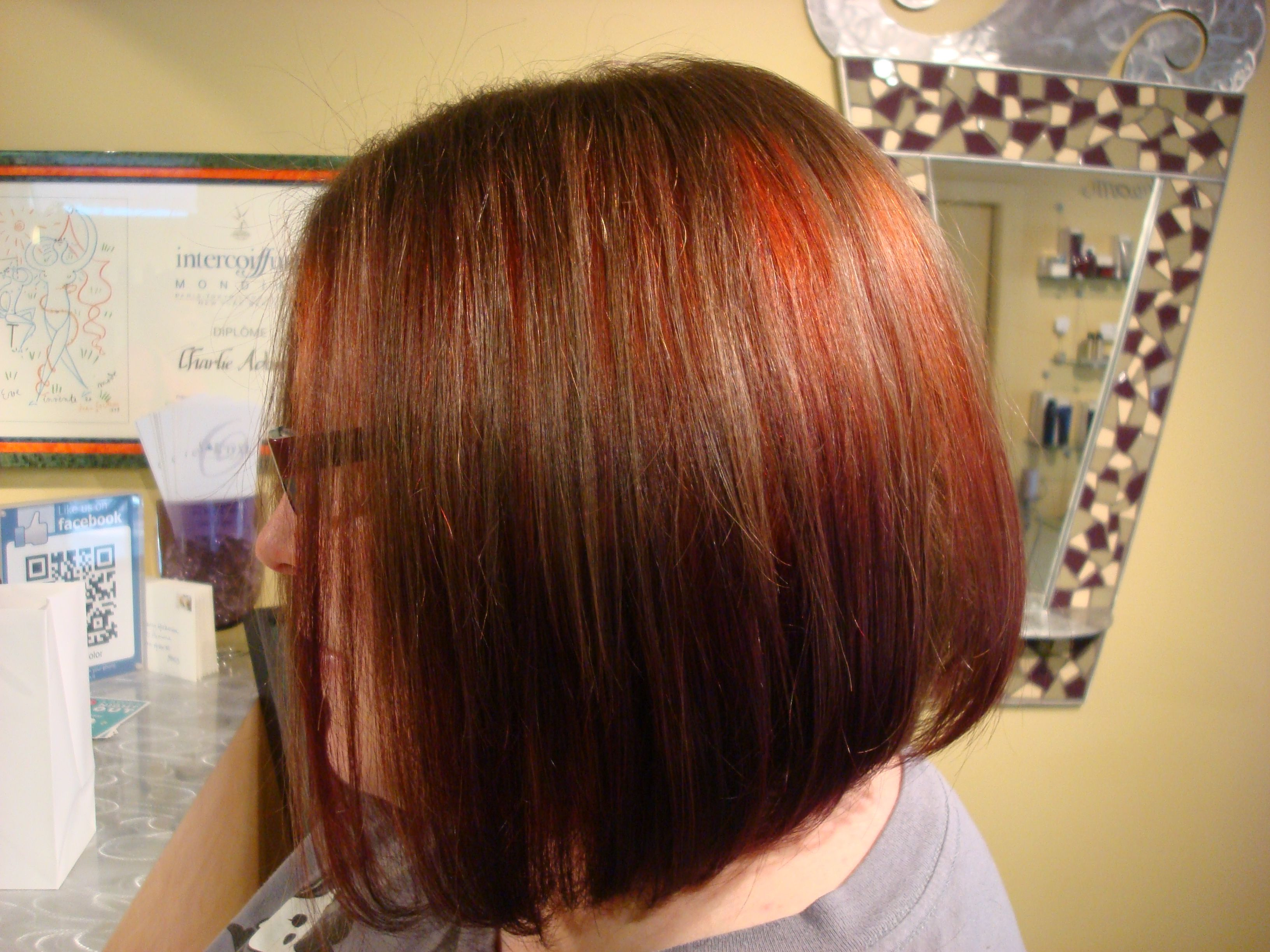 Beautiful Brunette Bob With Peek A Boo Red Highlights