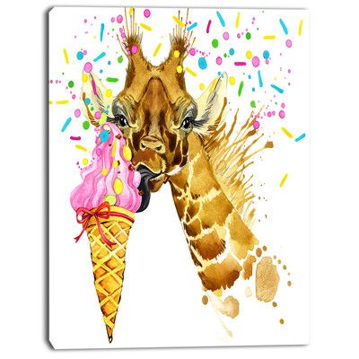 DesignArt \'Giraffe Eating Ice Cream Watercolor\' Painting Print on ...