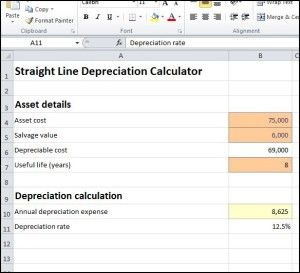 Straight Line Depreciation Calculator Accounting Accounting