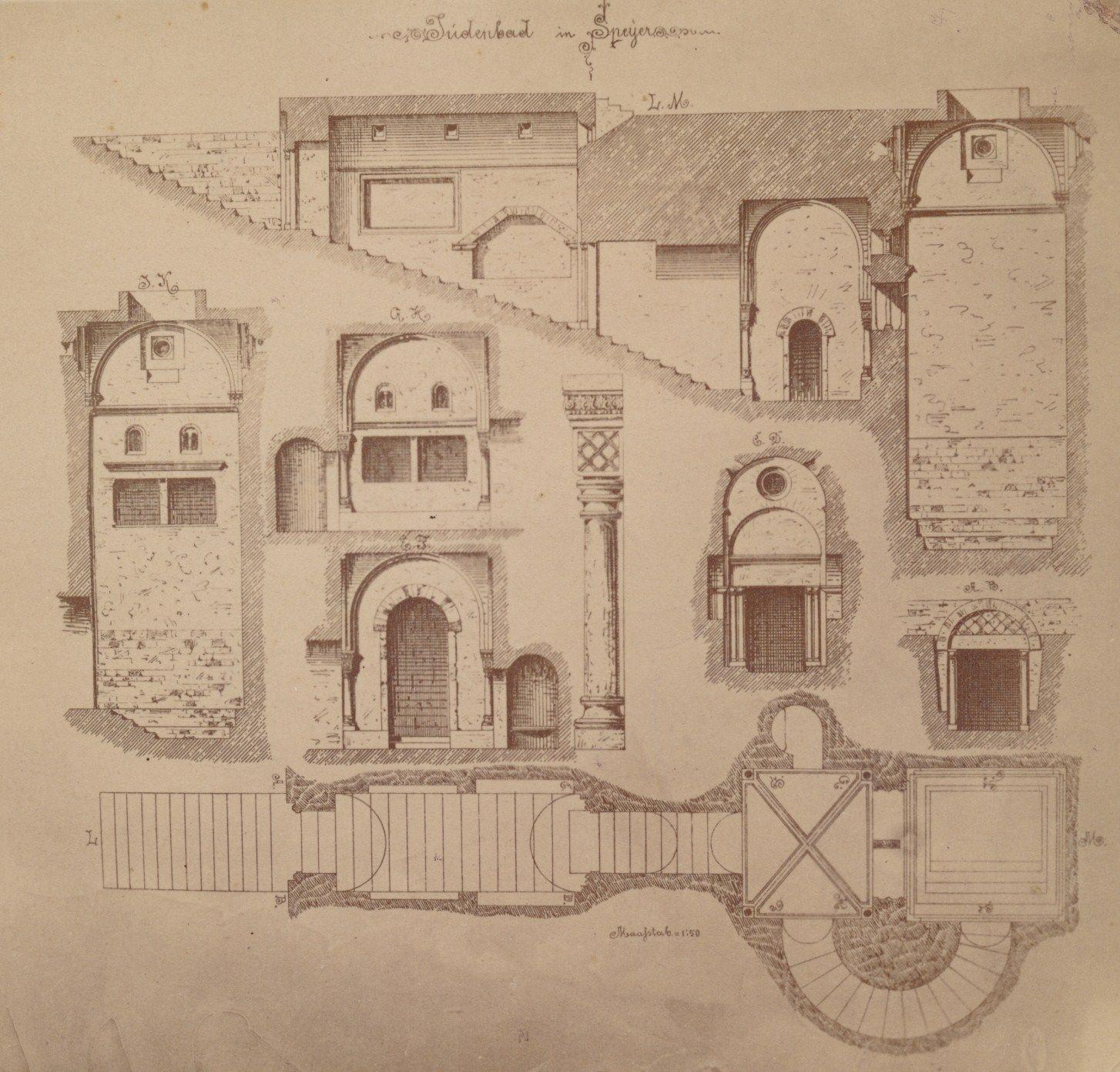 (Medieval) Jewish Mikwe, Speyer (plan, ca. 1900) Speyer