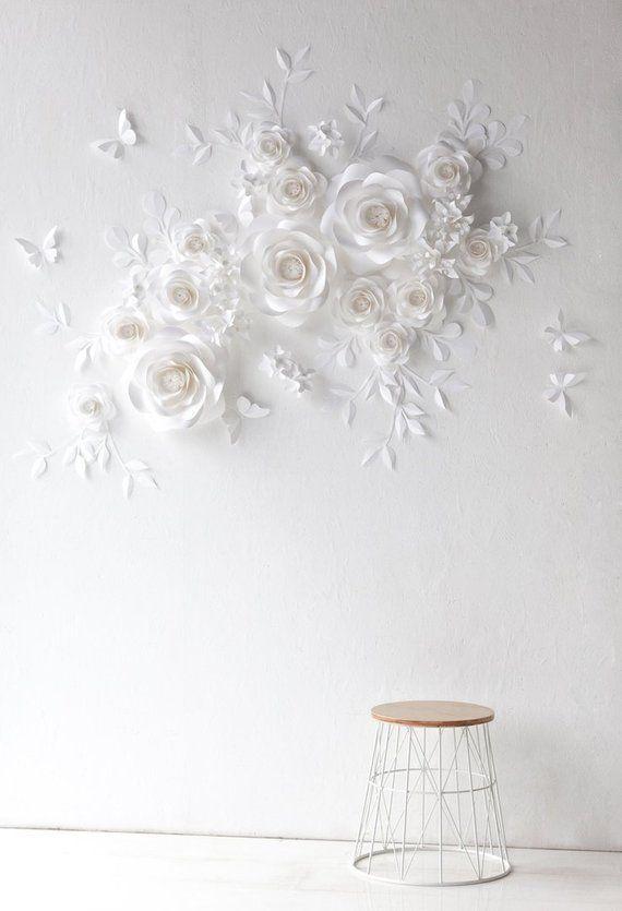 Weiße Hochzeit Papierblumen - Papierblumen - Papier Blumen Wand-Dekor - Papier Blumen Wand