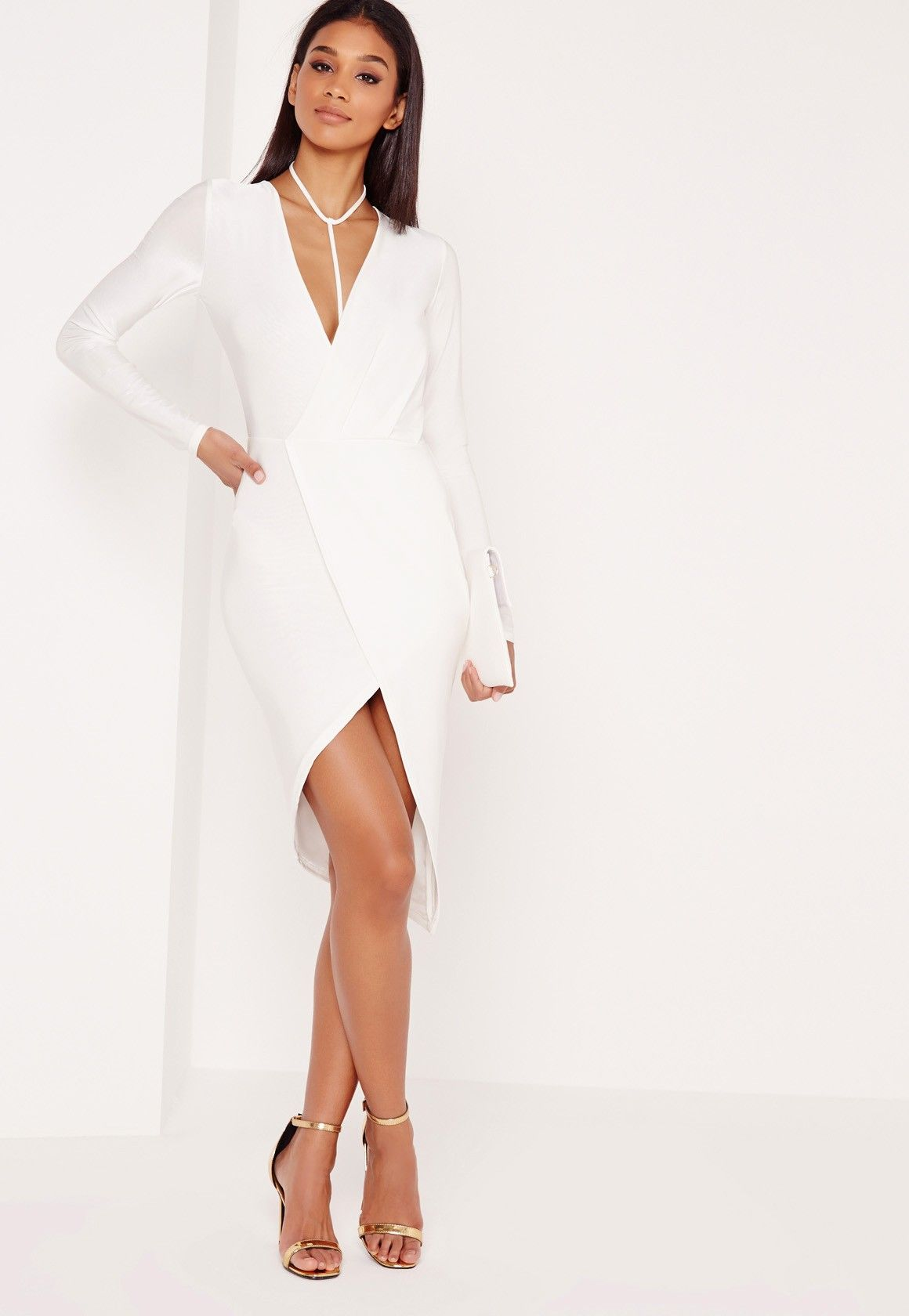 Missguided - Wrap Harness Slinky Mini Dress White  29714dc9640d5
