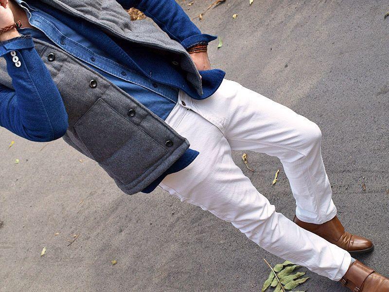 BLUE DB × GREY VEST × WHITE PANTS