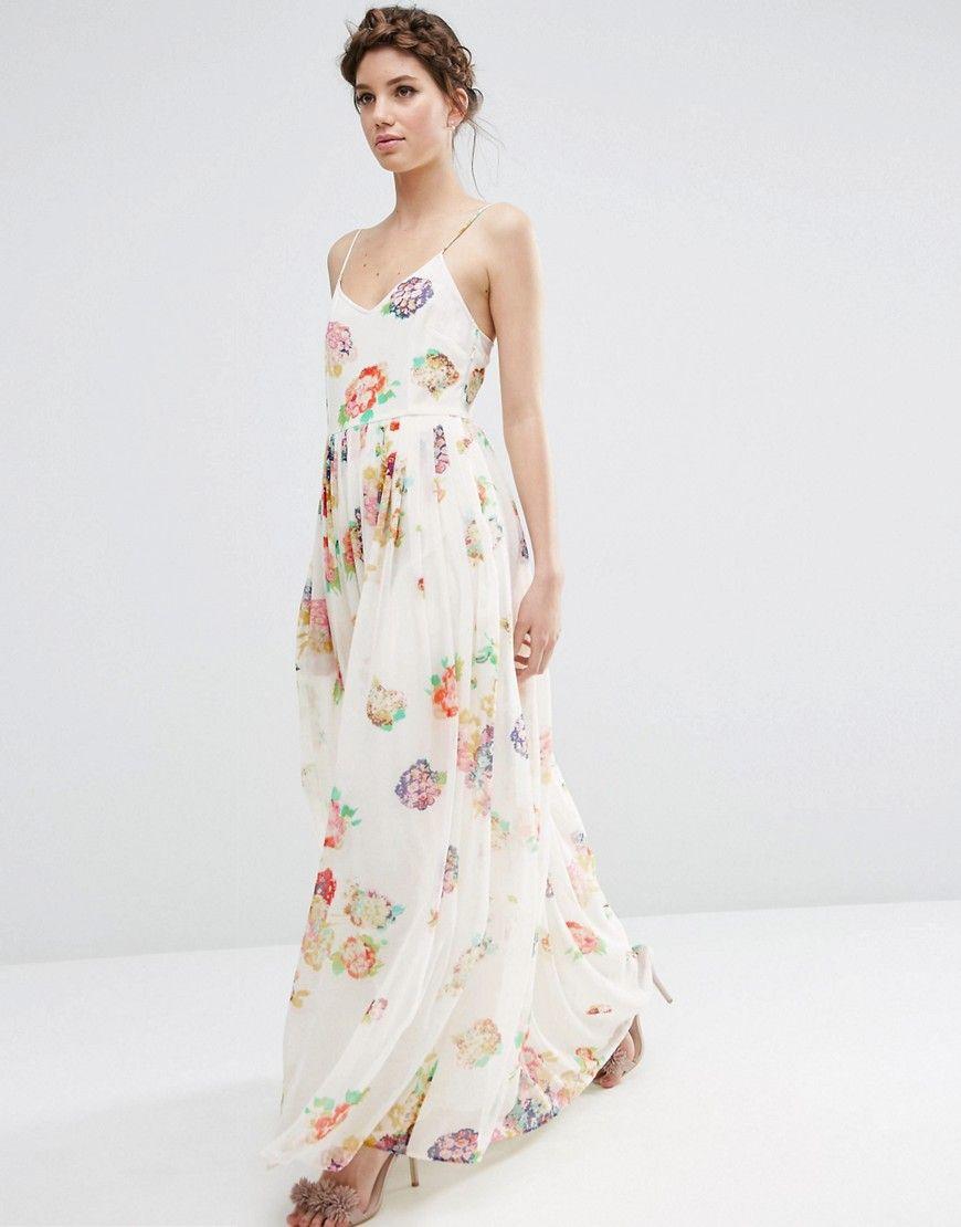 Image 4 asos robe longue pliss e bretelles et for Robe maxi mariage asos