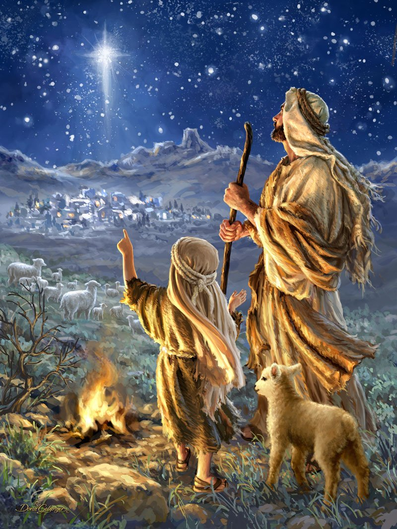 Shepherds Keeping Watch - Illuminated Fine Art | Christmas ...