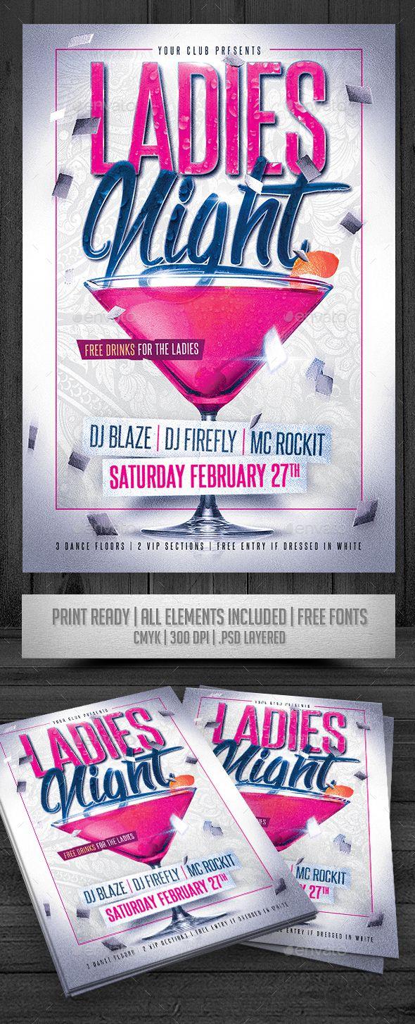 Ladies Night Flyer Template PSD #design Download: http://graphicriver.net/item/ladies-night-flyer/14518608?ref=ksioks