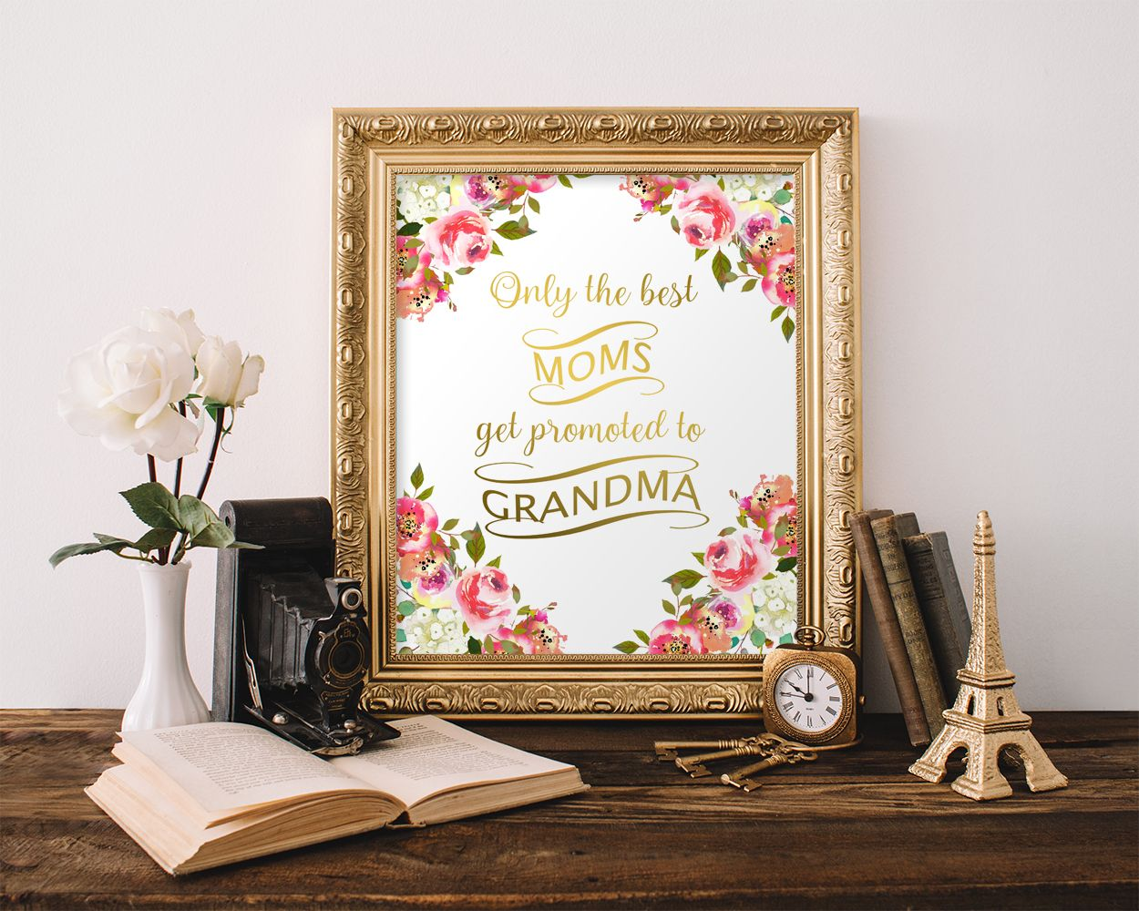wall art only the best moms get promoted to grandma on wall of moms id=87401