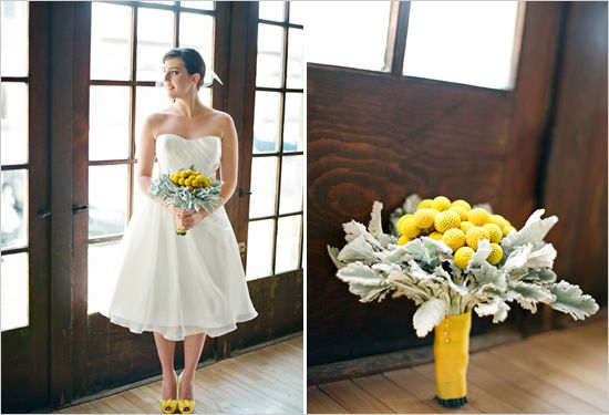 Yellow shoes under wedding dress