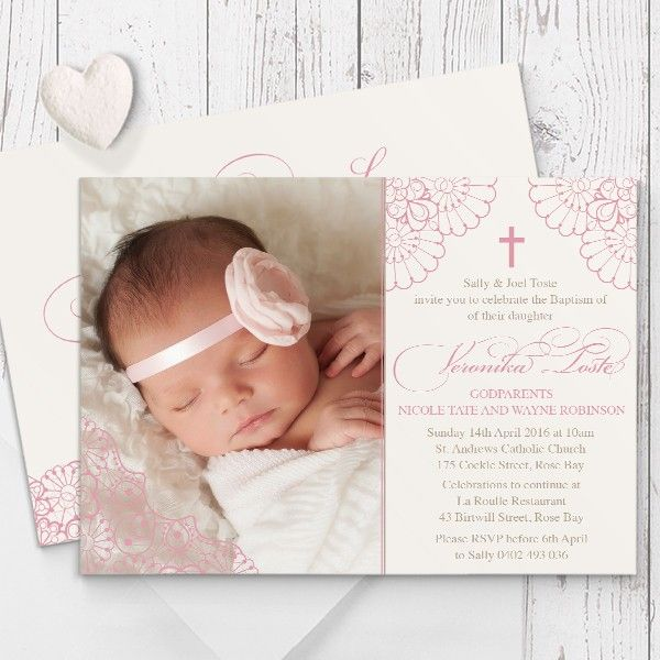delicate lace baptism christening invitations baptismal