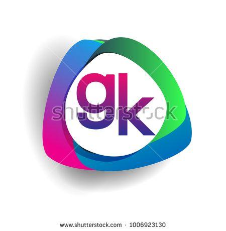 letter gk logo with colorful splash background letter combination rh pinterest es