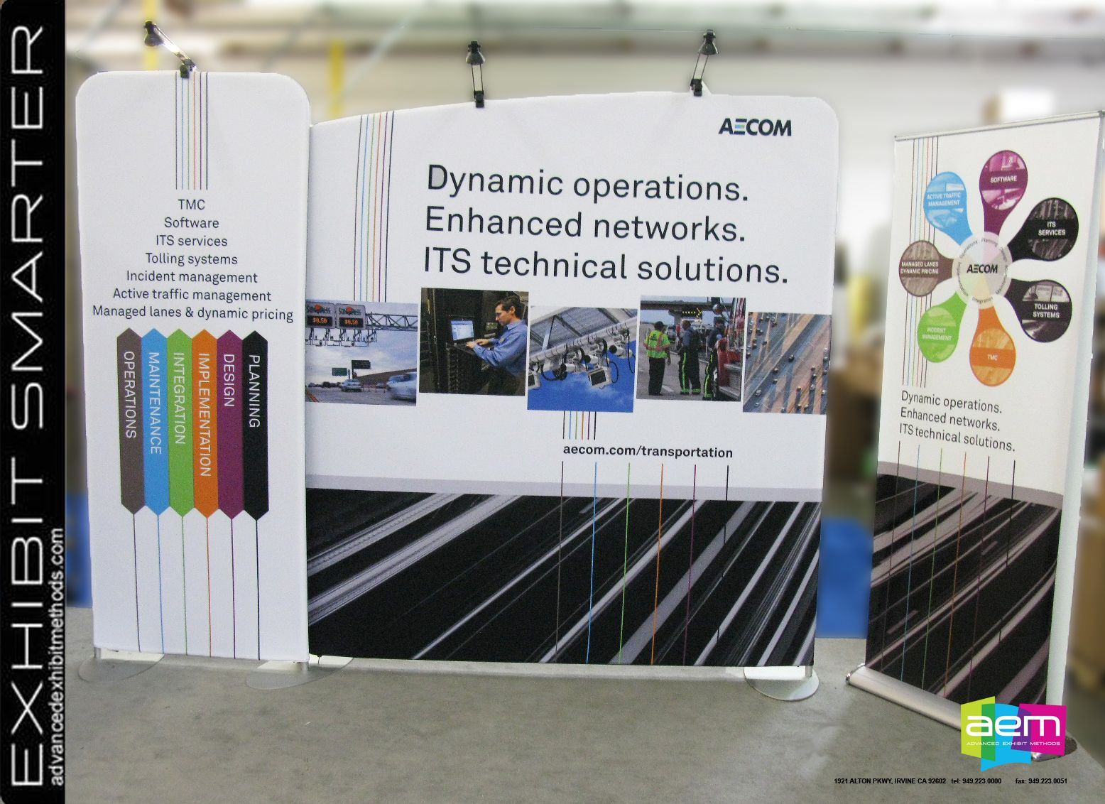 large background graphic for the aecom modular trade show booth