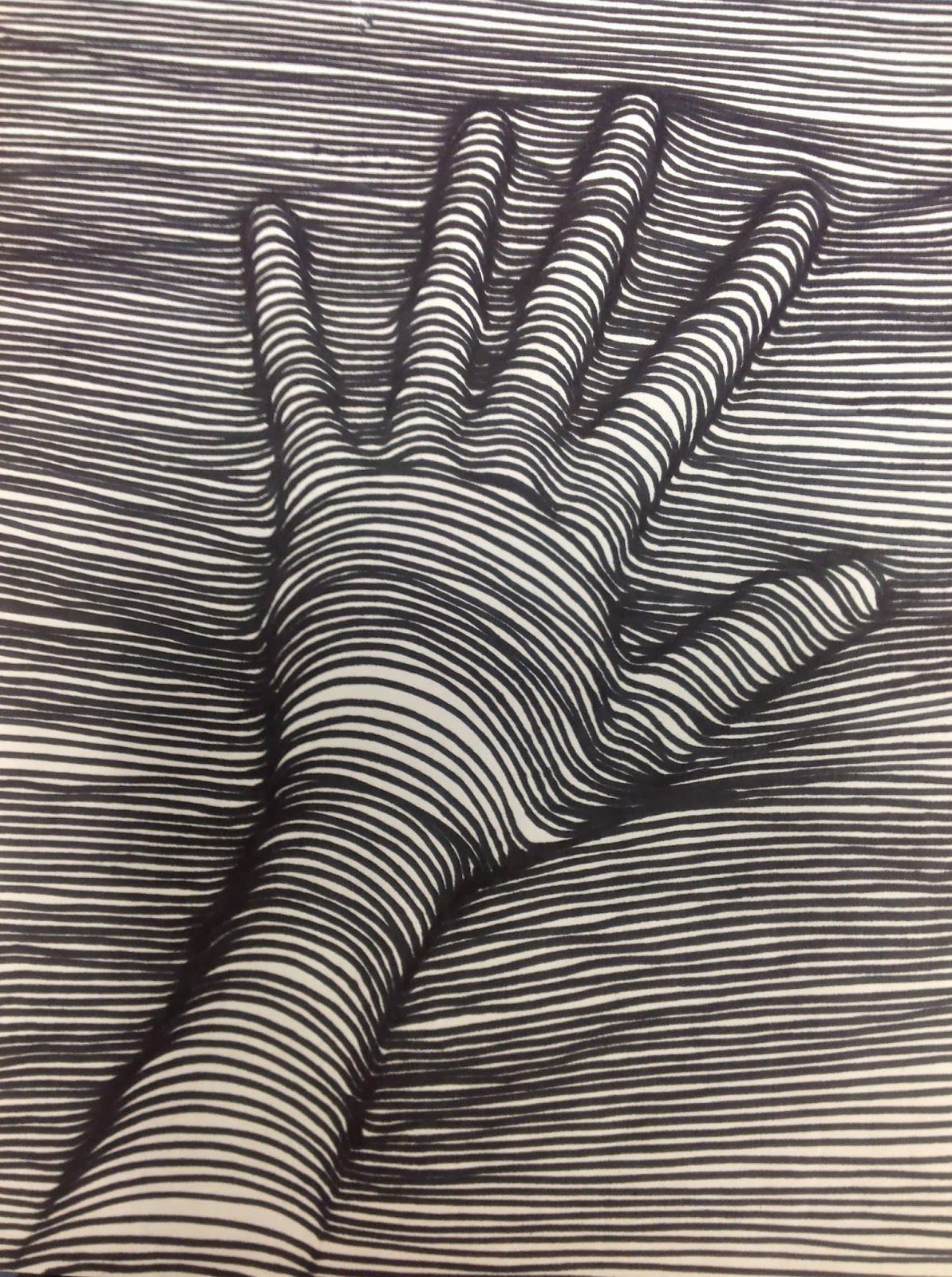 Cross Contour Line Drawing of a Hand   Education Art   Pinterest     Cross Contour Line Drawing of a Hand