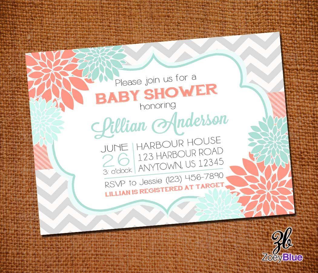 Floral Coral Mint Chevron Baby Shower Grey Chevron Tiffany Blue ...