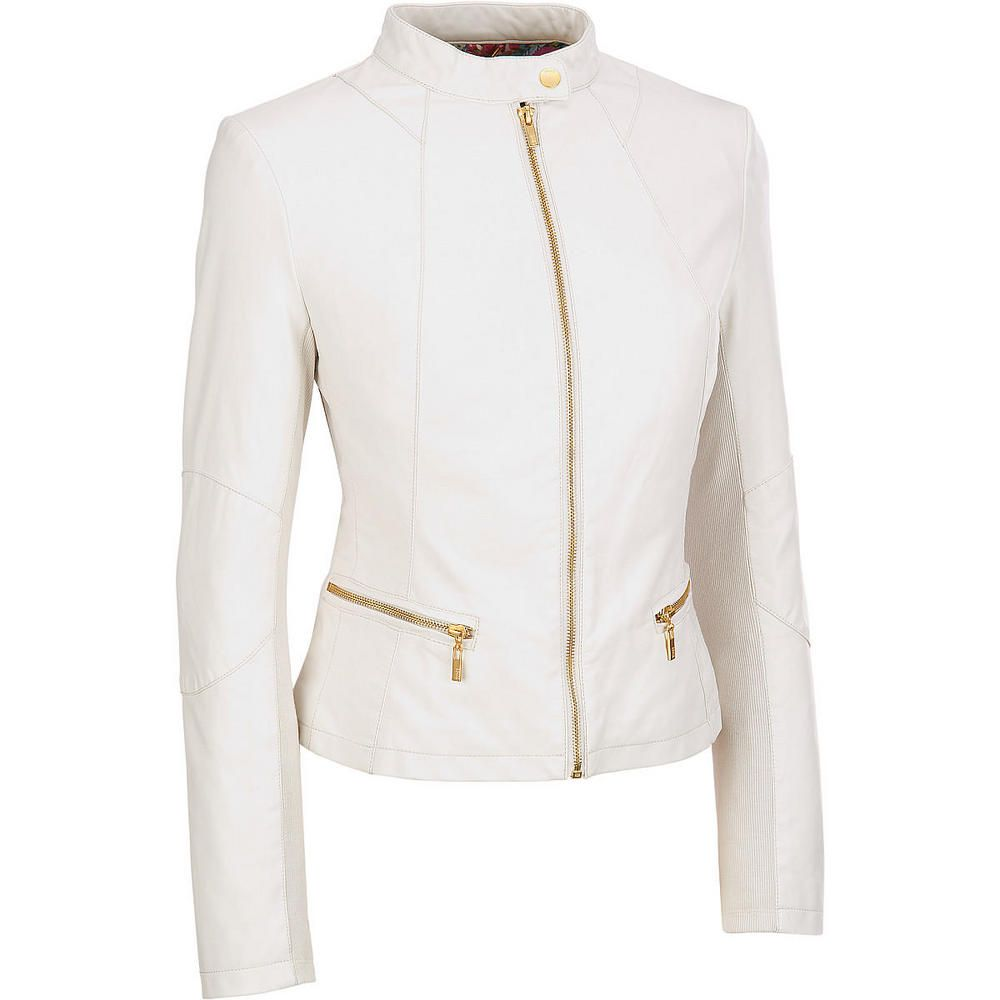 Womens Slimfit Cropped Moto Outerwear Soft White Leather Jacket