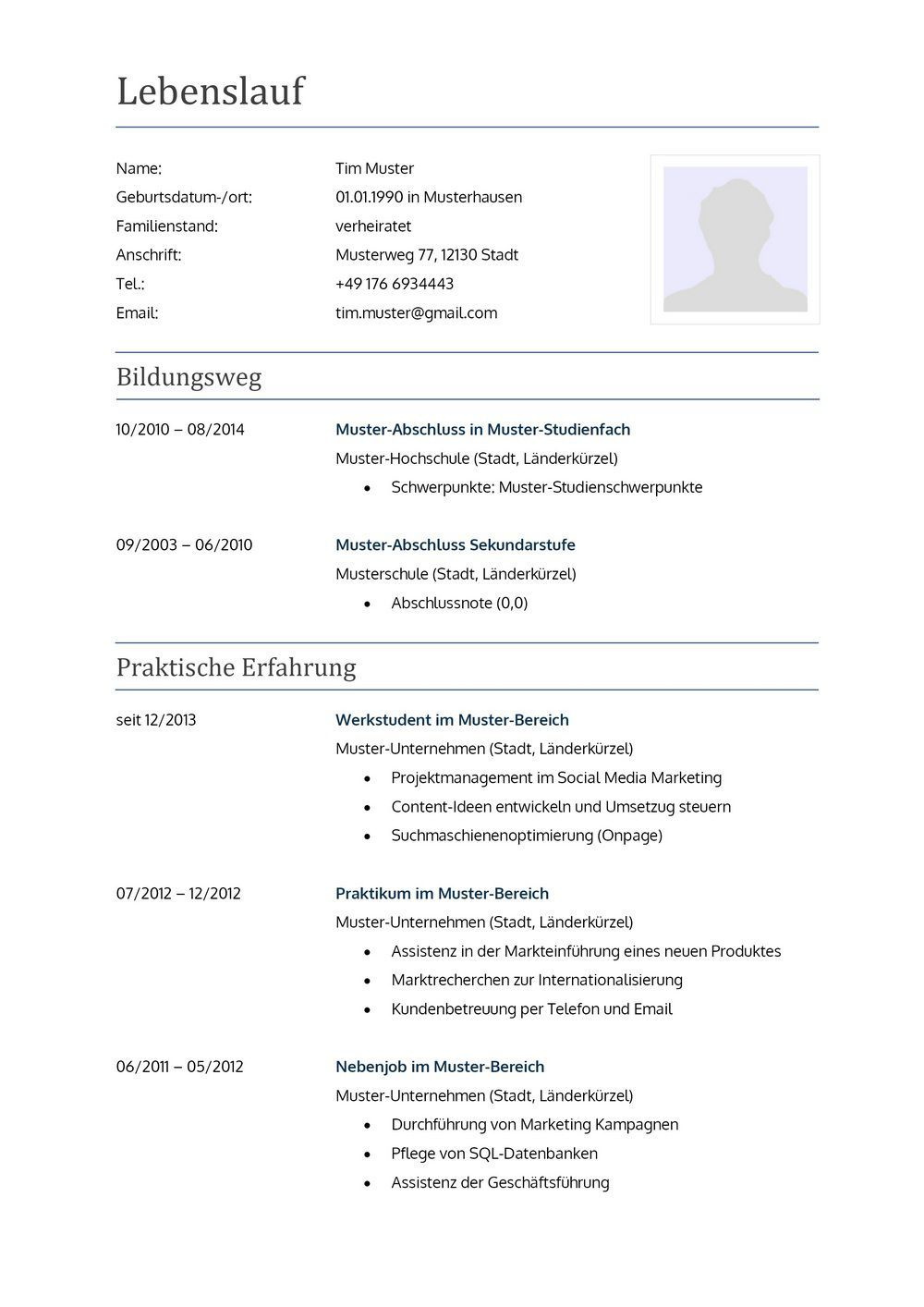 Lebenslauf Muster 4 Free Resume Template Word Resume Template Word