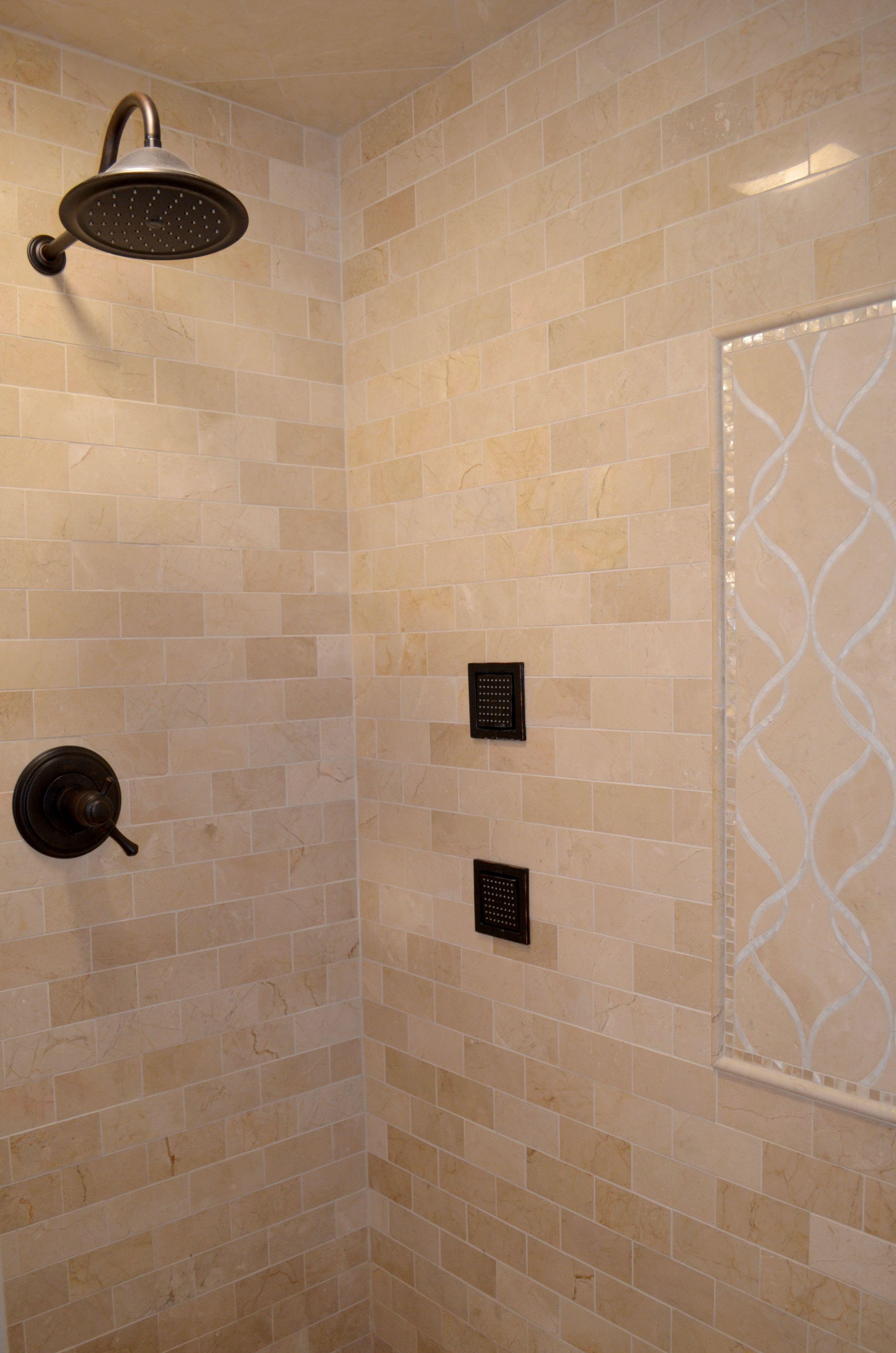 Walk In Master Shower Artistic Tile Crema Marfil Marble Tile Artistic Tile Claridges Stone And Shell Tile Mothe Shower Tile Neo Angle Shower Master Shower