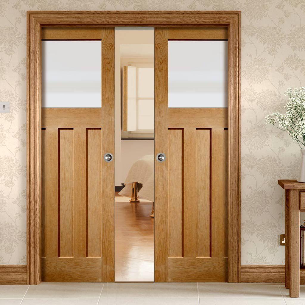 Double Pocket Dx Oak Door With Obscure Safe Glass 1930 S Style Schuifdeur Glazen Schuifdeur Deuren Interieur