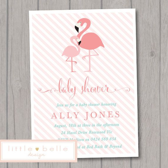 Flamingo Baby Shower Invitation Printable   by LittleBelleDesign - baby shower invitation backgrounds free