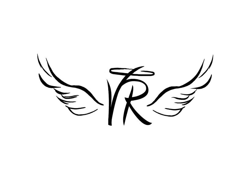 Tatto With Angel Wings Halo Tattoo Of Initials With Wings And A