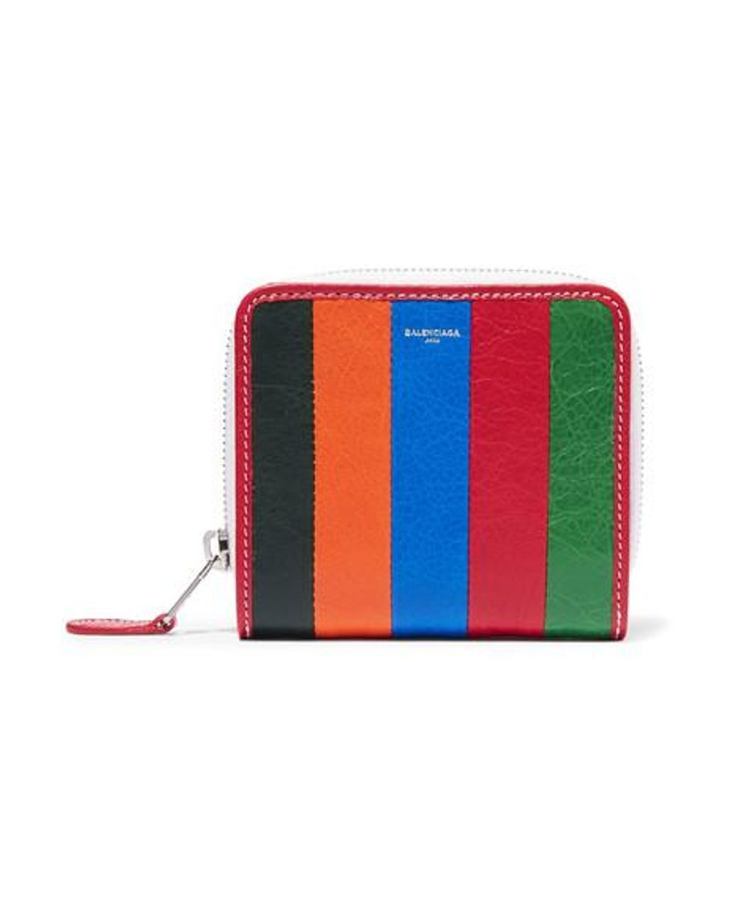 Bazar Striped Textured-leather Wallet - Blue Balenciaga BtaiJl0