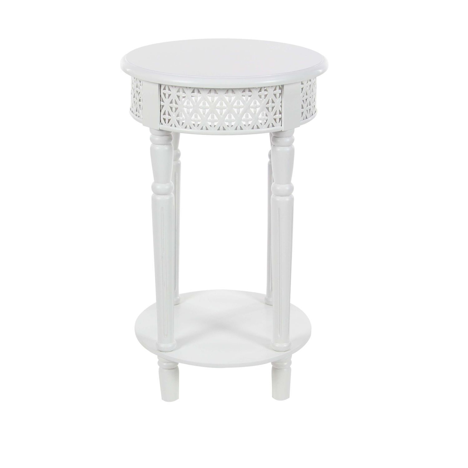 Wood White Side Table 15 Inches Wide