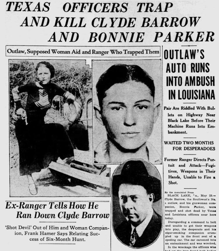 The real Bonnie and Clyde: Texas officers trap and kill ...