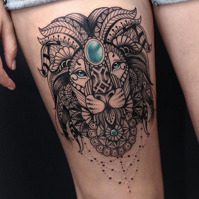 found this amazing tattoo on the internet lion mandala. Black Bedroom Furniture Sets. Home Design Ideas