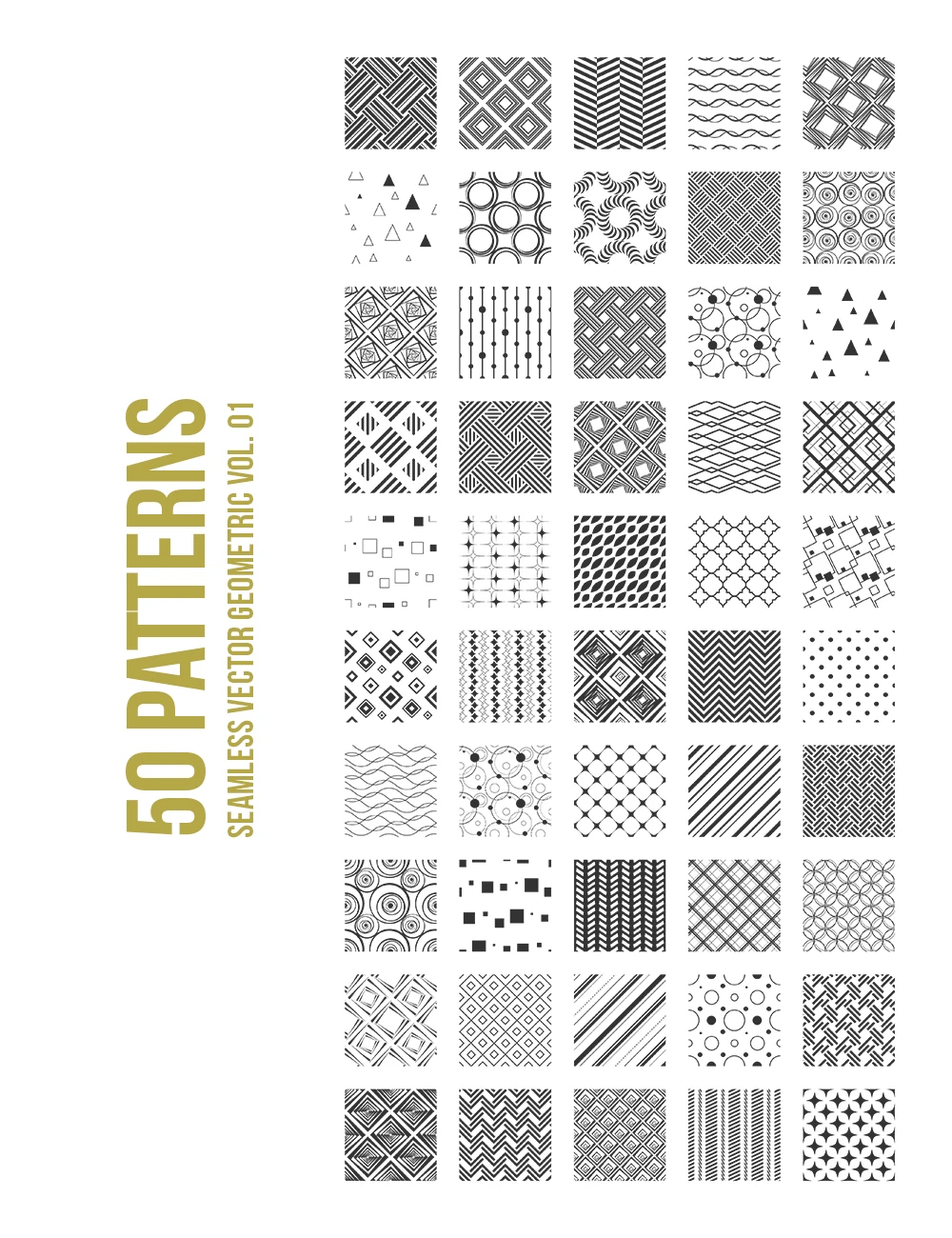 50 Geometric Seamless Vector Patterns 01 – Paper Moon Art & Design – Set of 50 geometric seamless vector patterns (polka dots, circles, chevron, stripes, squares, triangles, waves), which you can use for any of your personal or commercial surface pattern design projects: packaging, branding, fabric and textile prints, art prints, social media posts, merchandise products, website design, templates, etc. #patterns #geometricpatterns #geometric #seamlesspatterns #vectorpatterns #papermoonartdesign