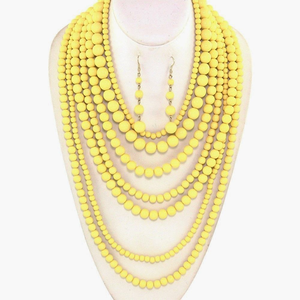 Beautiful Yellow Bead Multi Strand Long Necklace Earrings Gold ...
