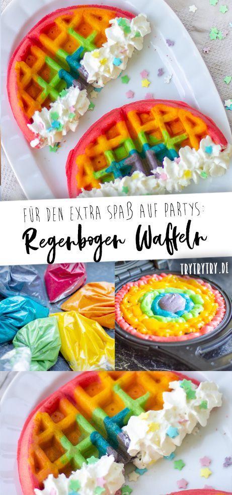 Regenbogen Waffeln für Geburtstage und Partys #childrenpartyfoods