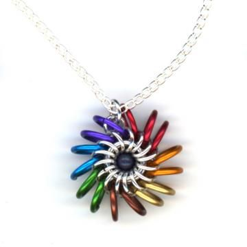 Rainbow Pendant, Multicolor Chainmaille Whirlybird, Chain Necklace, unique!!